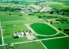 Arial shot of Menoken Farms and the Uncompaghre River